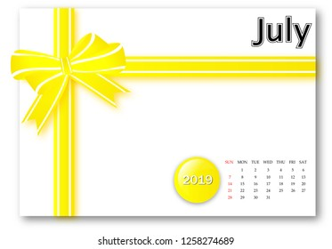 July 2019 - Calendar series with gift ribbon design