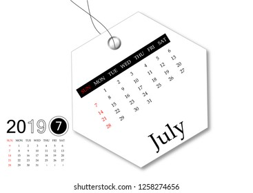 July 2019 - Calendar series for tag design