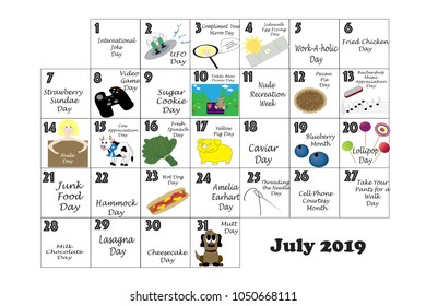 July 2019 monthly calendar illustrated and annotated with daily Quirky Holidays and Unusual Celebrations with Sunday start week.