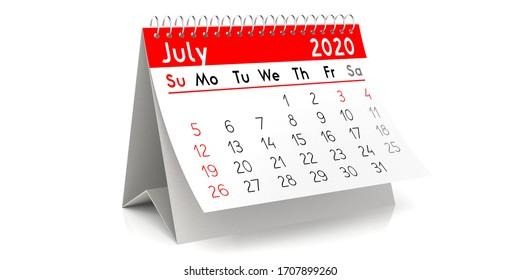 July 2020 - table calendar - 3D illustration