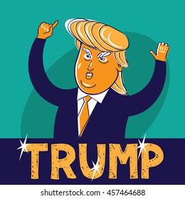 JULY 23, 2016: Illustrative editorial cartoon of USA Republican presidential candidate Donald Trump.