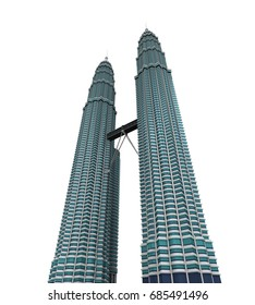 JULY 28, 2017: 3D Illustration of Petronas Twin Towers Isolated on White Background
