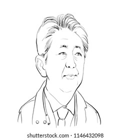 July 31,2018 Caricature of Japan Prime Minister Abe Shinzo an Portrait Drawing Illustration.
