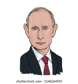July 31,2018 Caricature of Russian President  Vladimir Putin an Portrait Drawing Illustration.