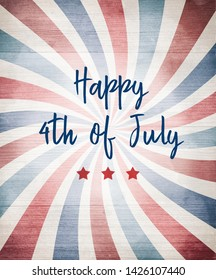 July 4th background design with red white and blue stripes and red stars and blue typography lettering that says Happy 4th of July