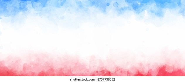 July 4th background, red white and blue colors with soft faded watercolor border texture design and blank white center, veteran's day or memorial day patriotic color background