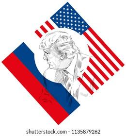 JULY 7-8, 2017, HAMBURG, GERMANY - Donald Trump on the summit G-20