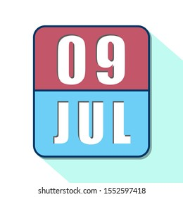 july 9th. Day 9 of month,Simple calendar icon on white background. Planning. Time management. Set of calendar icons for web design. summer month, day of the year concept