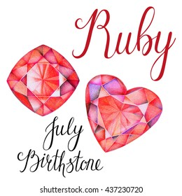 July birthstone Ruby isolated on white background. Close up illustration of gems drawn by hand with colored pencils. Realistic faceted stones.