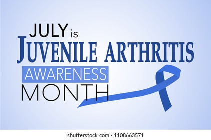 July is juvenile arthritis awareness month, background with blue awareness ribbon