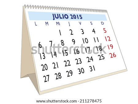 July Month Year 2015 Calendar Spanish Stock Illustration 211278475