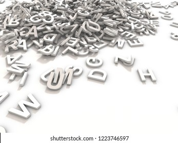 A jumbled pile of 3D illustrated white uppercase letters over a white background.  Great for typegraphy, education, design, or business applications.