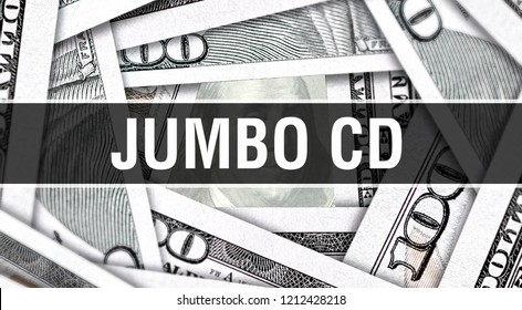 Jumbo CD Closeup Concept. American Dollars Cash Money,3D rendering. Jumbo CD at Dollar Banknote. Financial USA money banknote Commercial money investment profit concept