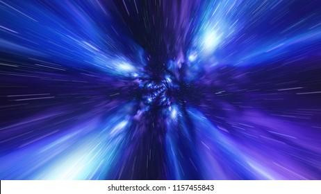Jump in Time vortex tunnel blue galaxy background
