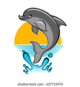 Jumping dolphin and a splash of water against sunset.  illustration in cartoon style.