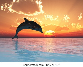 Jumping dolphin at sunset - 3D rendering.