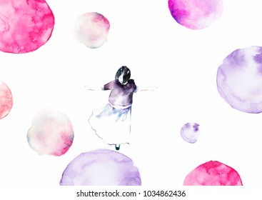 Jumping girl - illustration. Colorful abstract texture. Watercolor bubbles around the girl. Mother's greeting card. Valentine's day background.Hand paint watercolor greeting card with cute girl.