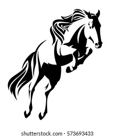jumping horse black and white outline - monochrome equine design.