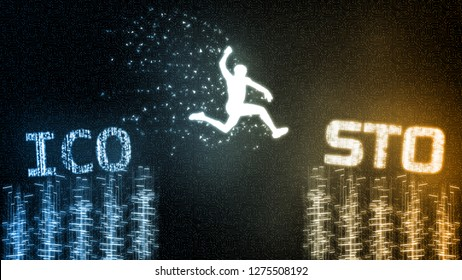 Jumping from Initial Coin Offering to Security Token Offering. STO is replacing ICO as a new proposing technology for crypto currency. Glowing led text over computer circuit board.
