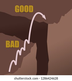 Jumping mountains from bad to good concept illustration design graphic