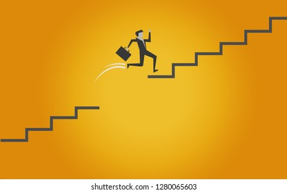 Jumping on stairs to success, 3D rendering