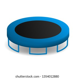 Jumping trampoline icon. Realistic illustration of jumping trampoline icon for web design isolated on white background