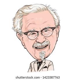 June 13, 2019 Caricature of Harland David Sanders,Colonel Sanders Founders KFC, Kentucky Fried Chicken, Investor, Businessman, Portrait Drawing Illustration.