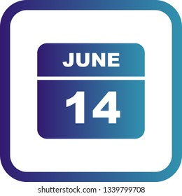 June 14th Date on a Single Day Calendar