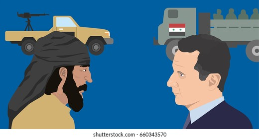 June 15, 2017: editorial illustration of the President of Syria Bashar Al-Assad and the representative of the Middle East and military forces background.