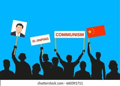 June 15, 2017: editorial illustration of the crowd that is maintaining its attitude regarding to the President of People's Republic of China Xi Jinping on blue background.