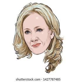 June 19, 2019 Caricature of Joanne Rowling, J. K. Rowling, Writer,  British novelist, philanthropist, film producer, television producer, screenwriter, Portrait Drawing Illustration.