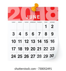 June 2018 - Calendar. Isolated on White Background. 3D Illustration