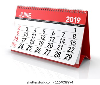 June 2019 Calendar. Isolated on White Background. 3D Illustration