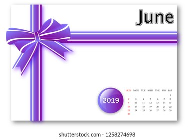 June 2019 - Calendar series with gift ribbon design
