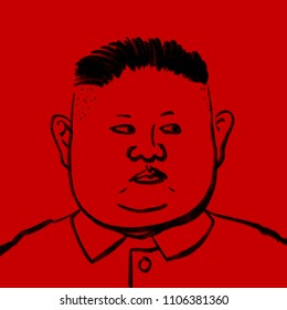 June 6, 2018 : An illustration of North Korea leader Kim Jung Un on a red background.