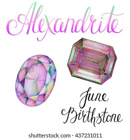 June birthstone Alexandrite isolated on white background. Close up illustration of gems drawn by hand with colored pencils. Realistic faceted stones.