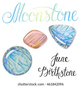 June birthstone Moonstone isolated on white background. Close up illustration of healing crystals drawn by hand with colored pencils.