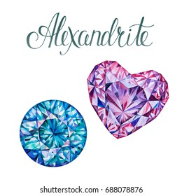 June birthstones Alexandrite isolated on white background. Close up illustration of gems drawn by hand with watercolor. Realistic faceted stones