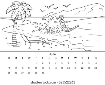 June calendar with coloring book image. Black and white drawing. Cartoon hand drawn raster illustration