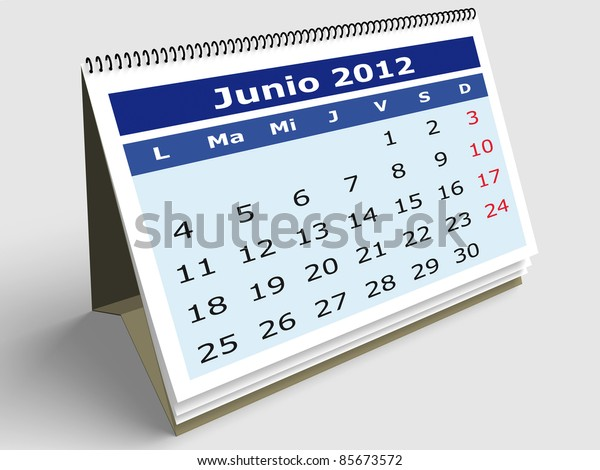 June month in Spanish. 2012 Calendar. 3d render