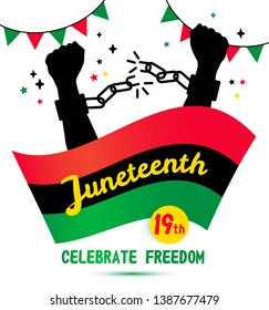 Juneteenth day background celebration of 19 June on white.