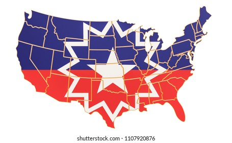 Juneteenth flag on the map of the USA, 3D rendering