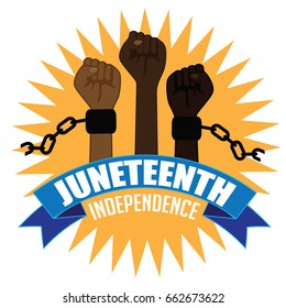 Juneteenth independence design with raised fists wearing broken shackles.