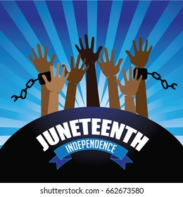 Juneteenth independence design with raised hands wearing broken shackles.