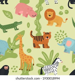 Jungle animals seamless pattern. Lion, crocodile and zebra, elephant and monkey, hippo and giraffe with summer tropical leaves texture