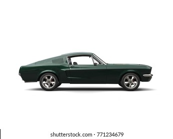 Jungle green American vintage muscle car - side view - 3D Illustration