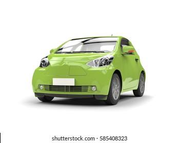 Jungle green small urban modern electric car - studio shot - 3D Render