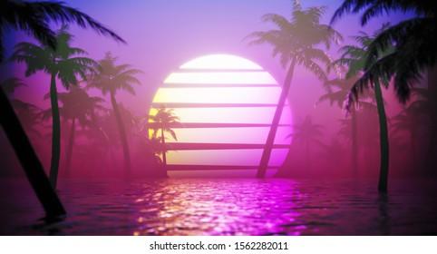 Jungle neon background. Vapor wave tropical background concept. 3d Rendering.