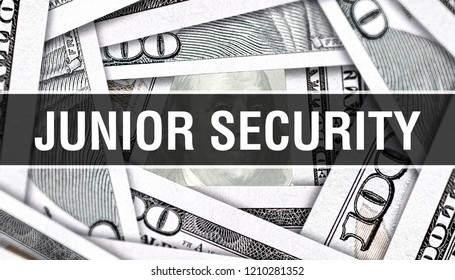 Junior Security Closeup Concept. American Dollars Cash Money,3D rendering. Junior Security at Dollar Banknote. Financial USA money banknote Commercial money investment profit concept