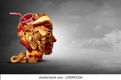 Junk food concept and eating unhealthy snacks psychology and fast food diet psychology as greasy fried restaurant take out as a symbol of overeating 3D illustration elements.